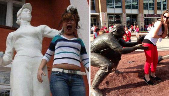 fotos de pessoas com estatuas