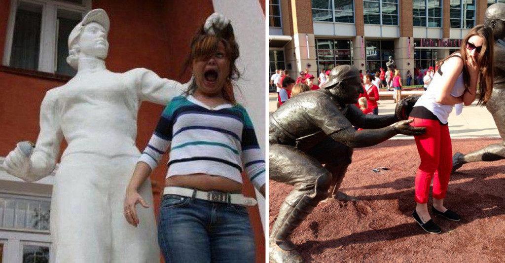 20 fotos hilárias de pessoas com estátuas que não perdem tempo quando o assunto é diversão